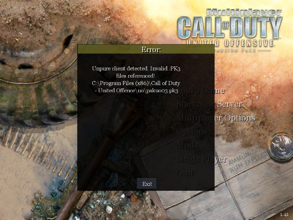 Call of Duty United Offensive Invalid .PK3 files referenced Error