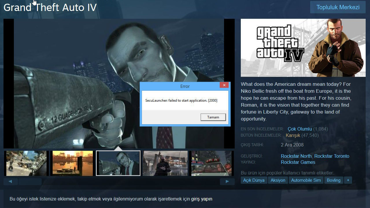 Gta 4 Seculauncher Failed To Start Application 2000 Hatasi
